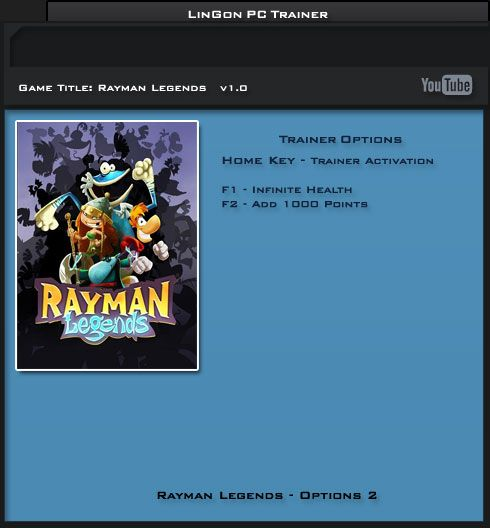 Rayman Legends v1.0 Steam +2 Trainer [LinGon]